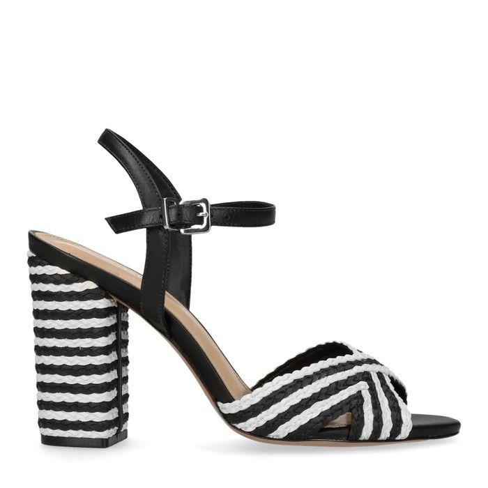 Schwarz-weiße Ledersandalen mit Flecht-Details