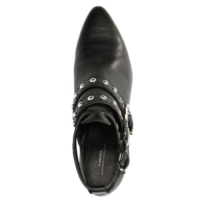 Schwarze Buckle Boots mit Cut-out