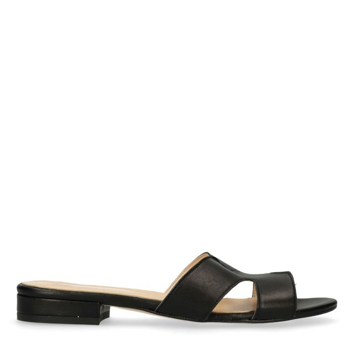 Schwarze Leder-Sandalen