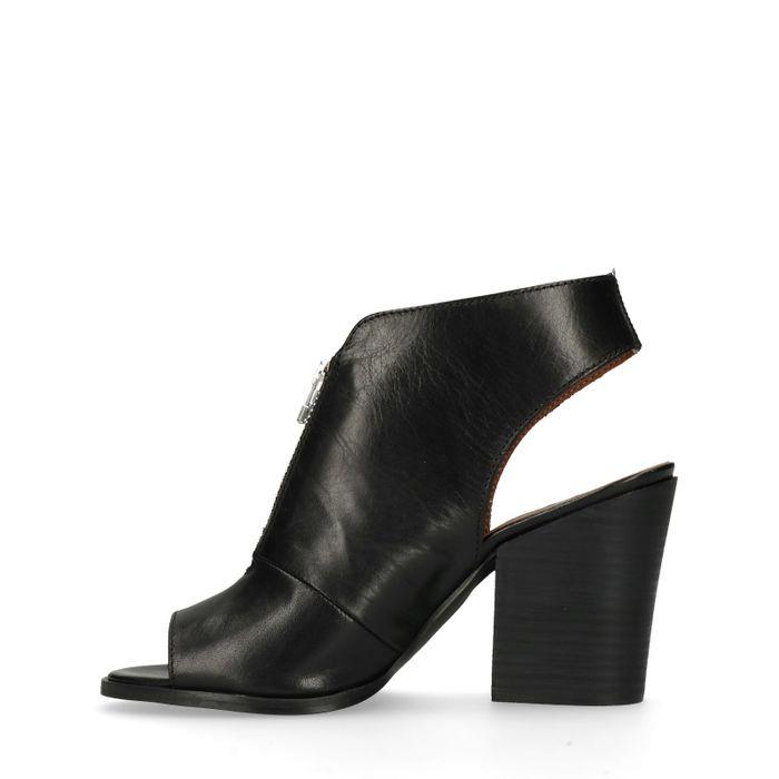 Schwarze Leder-Sandaletten mit Reißverschluss