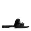 Flauschige schwarze Schlappen mit Nieten