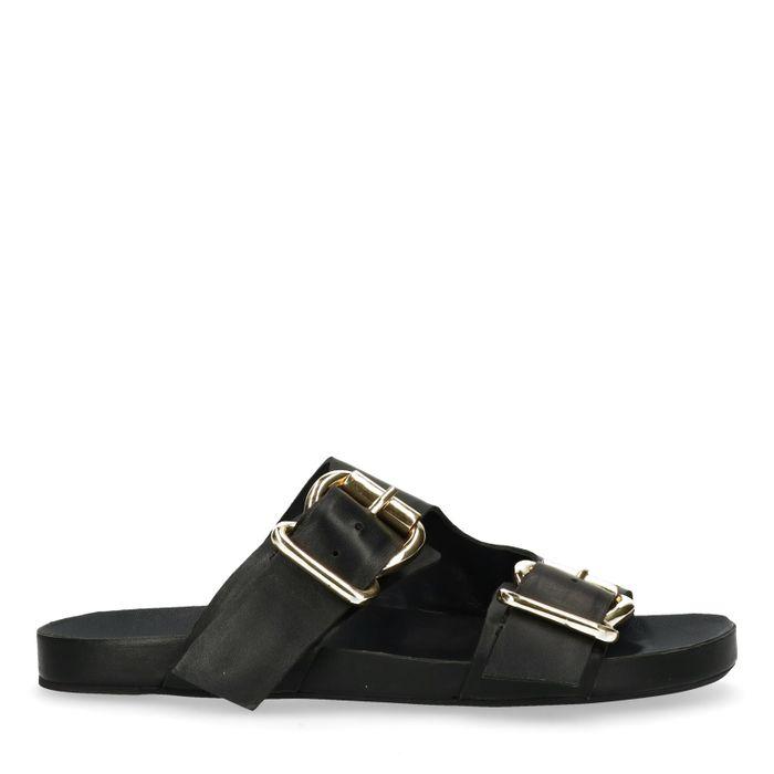 Schwarze Sandalen mit goldenen Schnallen