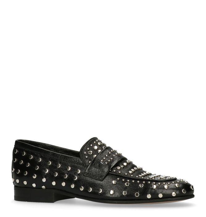 Schwarze Loafer mit silberfarbenen Nieten
