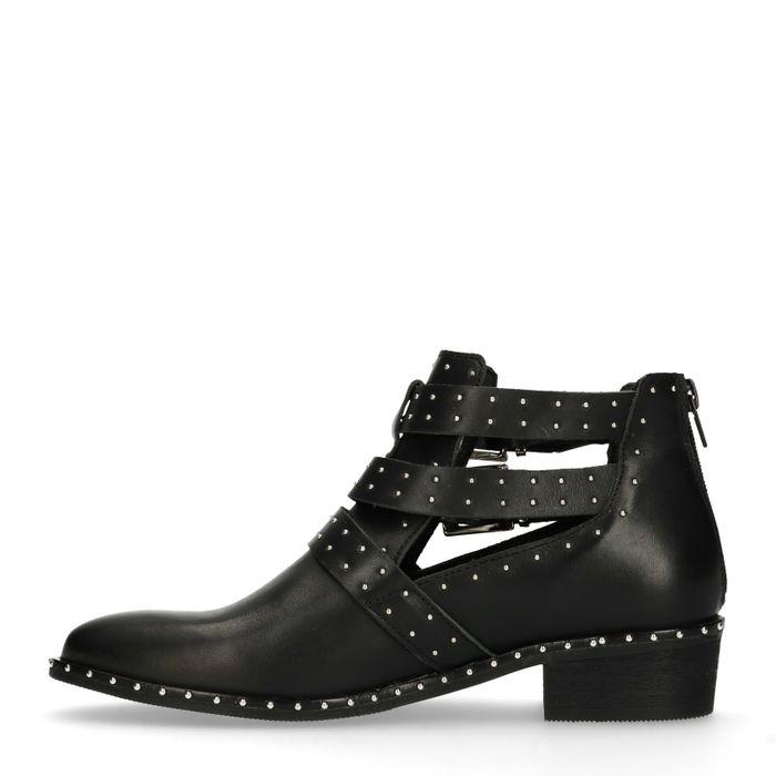 Schwarze Cut-out-Boots mit Nieten