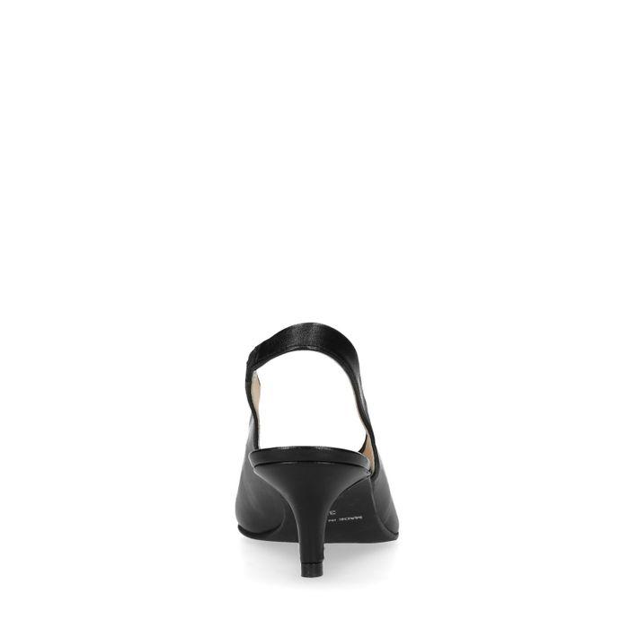Schwarze Slingpumps mit Kitten Heel