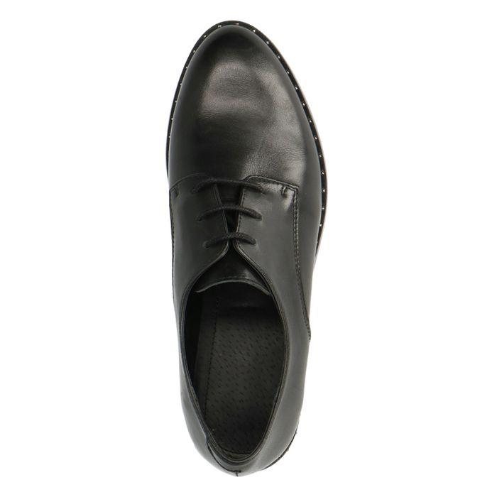 Schwarze Lederschnürschuhe mit Nieten