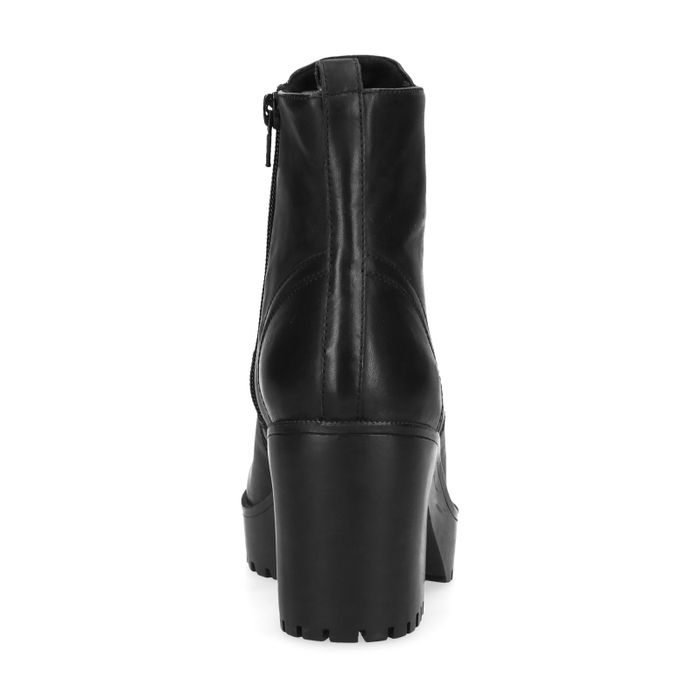 Schwarze Stiefeletten mit Blockabsatz und Reißverschluss