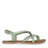 Grüne Sandalen mit gekreuzten Riemchen