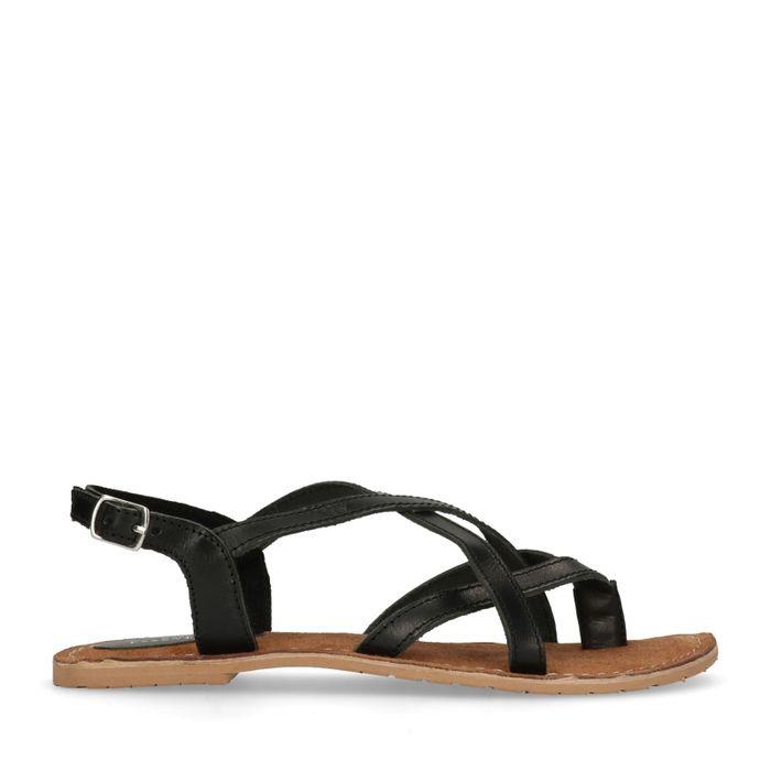 Schwarze Sandalen mit gekreuzten Riemchen