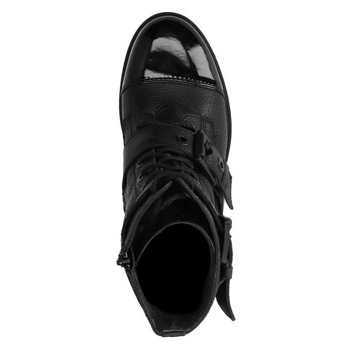 Schwarze Biker Boots mit Lack-Detail