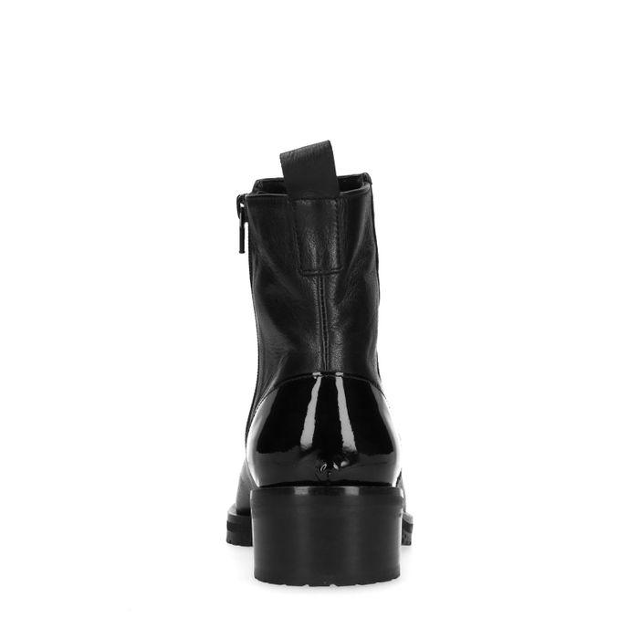 Schwarze Stiefeletten mit Lack-Details