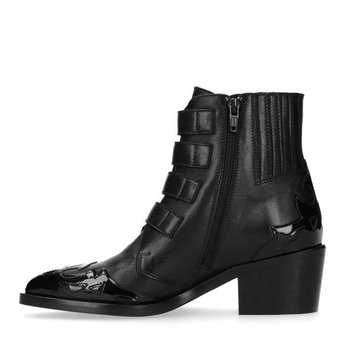 Schwarze Buckle Boots mit Details
