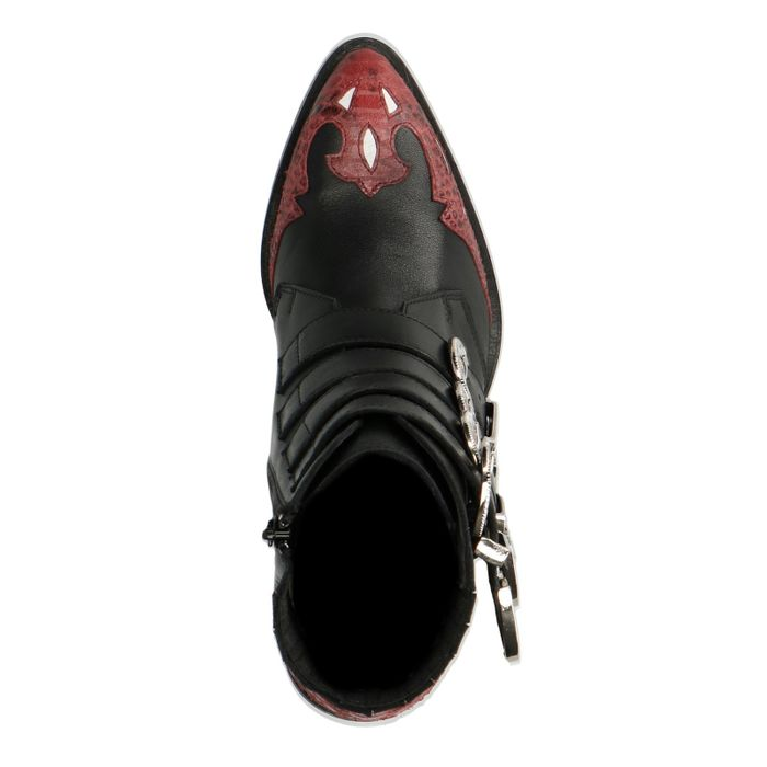 Schwarze Buckle Boots mit roten Details