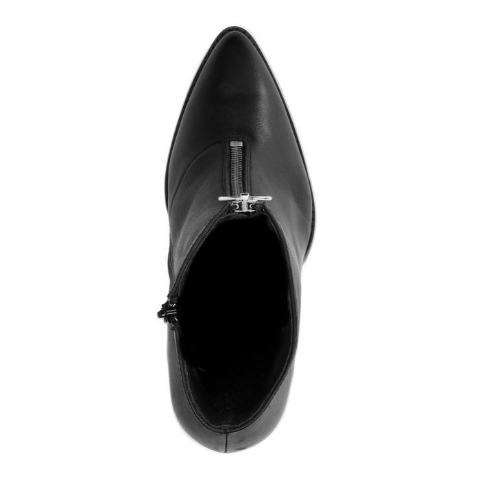 Schwarze Absatz-Stiefeletten mit Reißverschluss