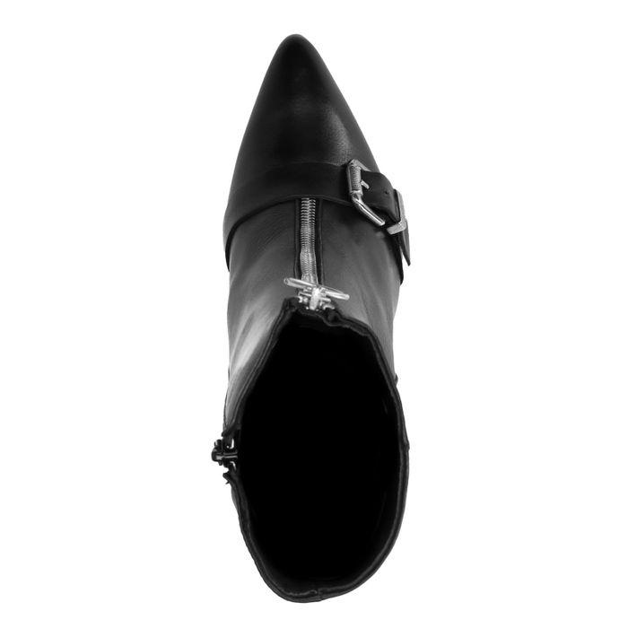 Schwarze Absatz-Stiefeletten mit Schnalle
