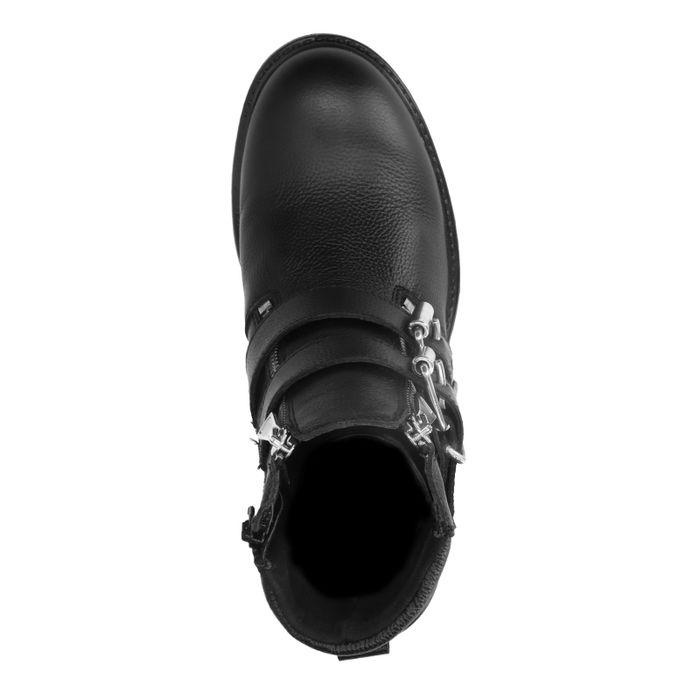Schwarze Biker Boots aus Leder