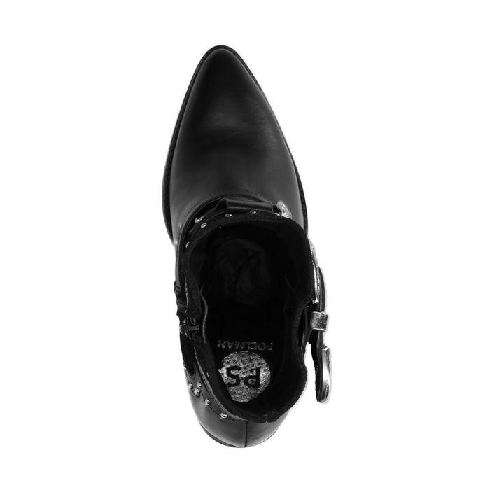 Schwarze Buckle Boots mit Absatz