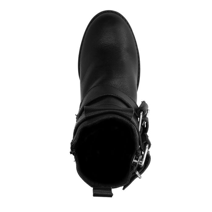 Schwarze Biker Boots mit Absatz