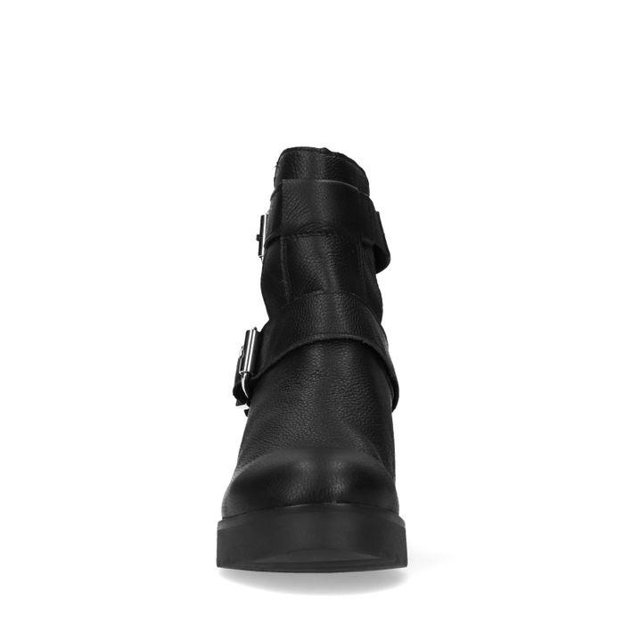 Schwarze Biker Boots mit Cut-out