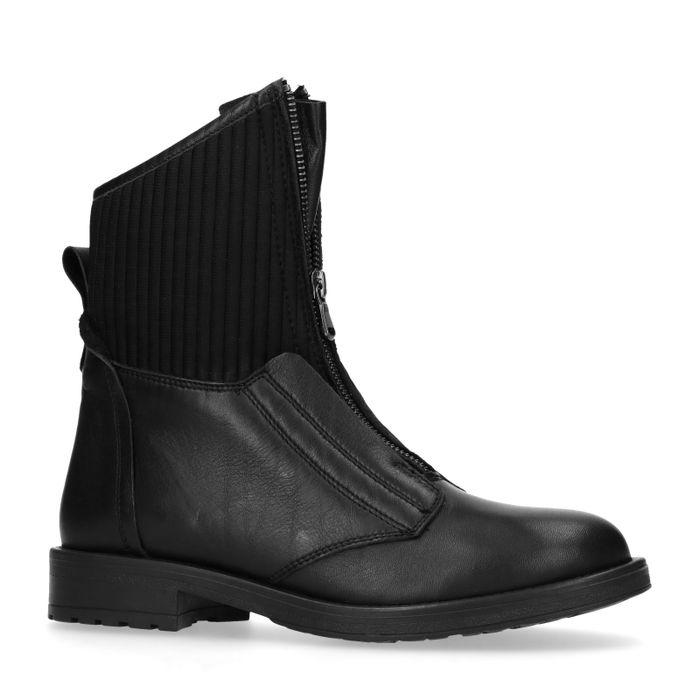 Kurze schwarze Lederstiefel mit Reißverschluss