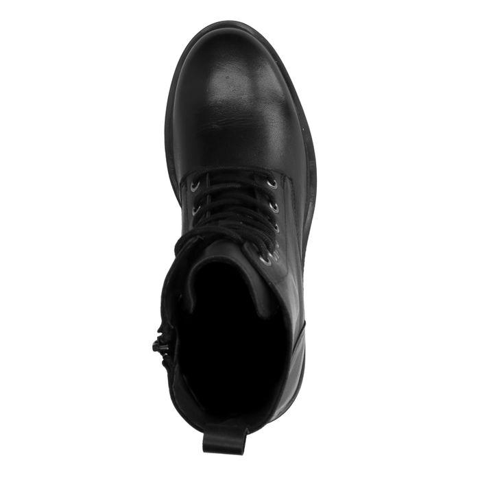 Schwarze Stiefeletten aus Stoff und Lack