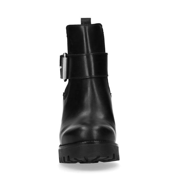 Schwarze Chelsea Boots mit Absatz und dekorativer Schnalle