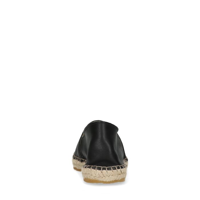 Schwarze Leder-Espadrilles