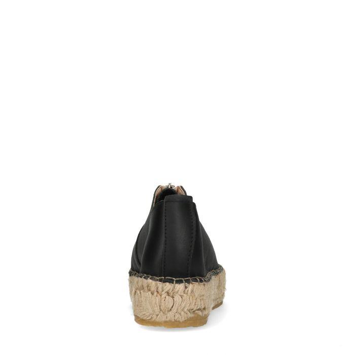 Schwarze Leder-Espadrilles mit Reißverschluss