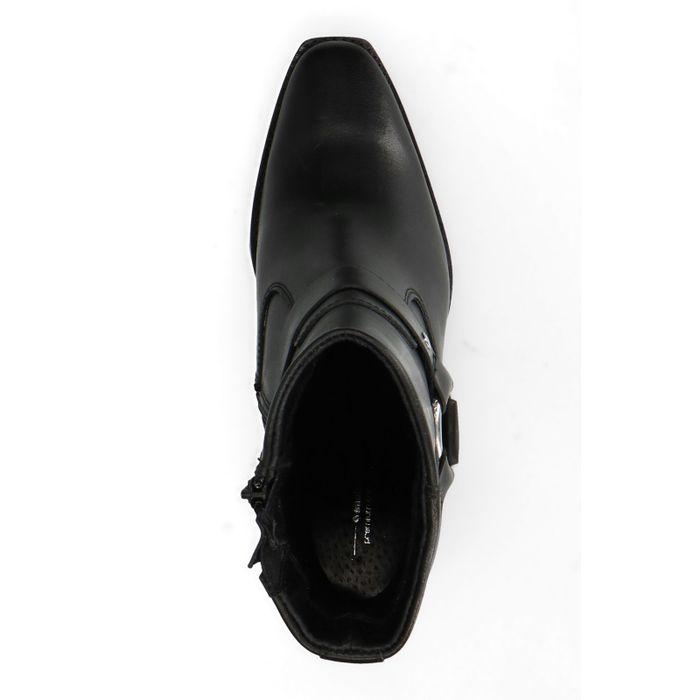 Schwarze Leder-Stiefeletten mit Western-Details