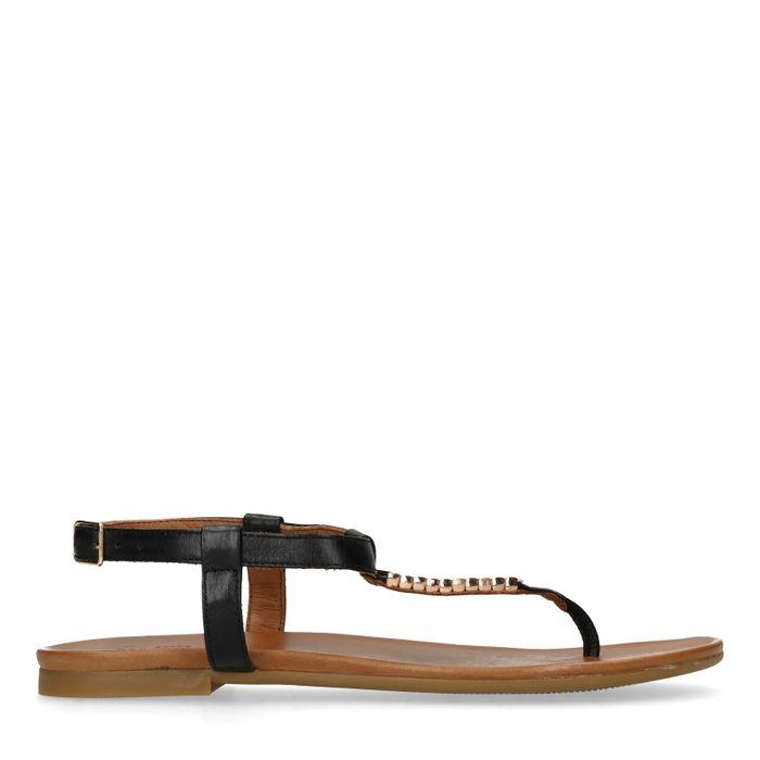 Schwarze Sandalen mit goldenen Details