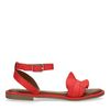 Rote Sandalen mit Rüschen
