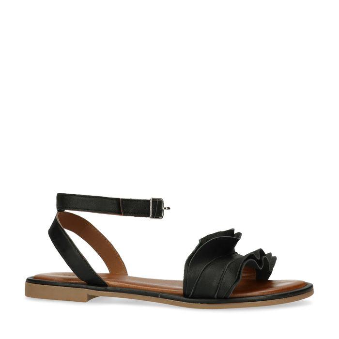 Schwarze Sandalen mit Rüschen