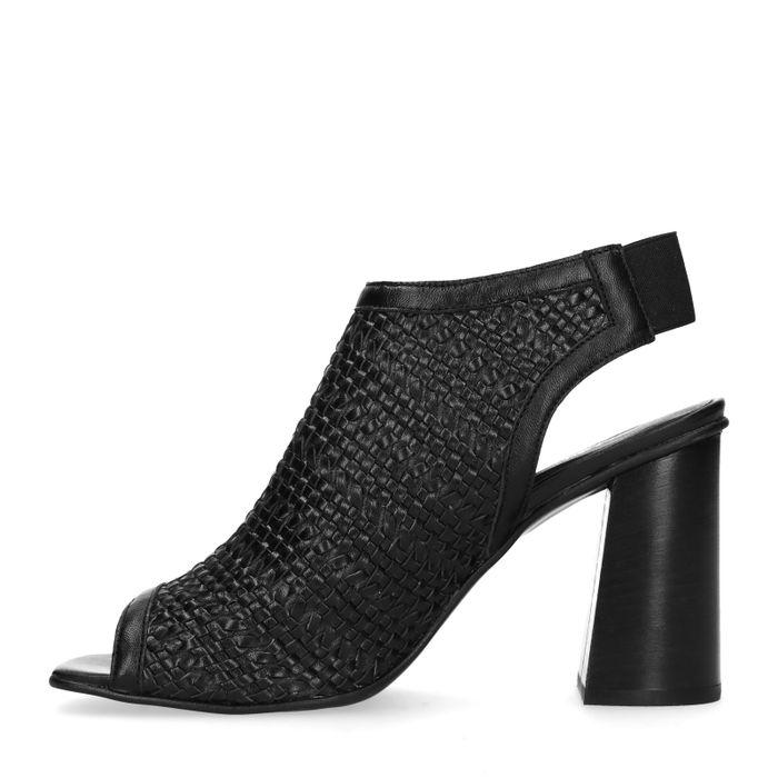 Schwarze Sandaletten mit Blockabsatz und Peeptoe