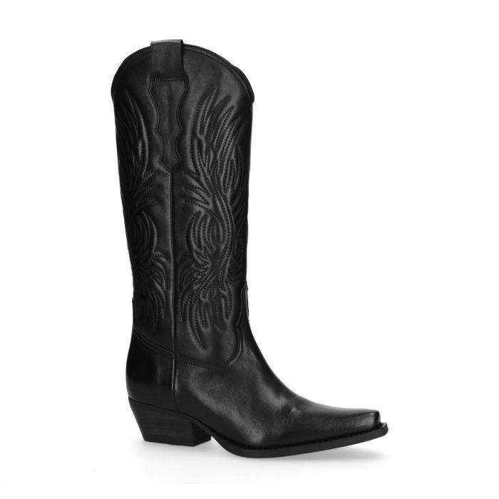 Schwarze Cowboystiefel aus Leder