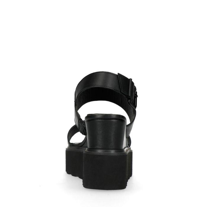 Schwarze Keilsandaletten aus Leder