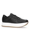 Schwarze Leder-Sneaker mit Plateausohle