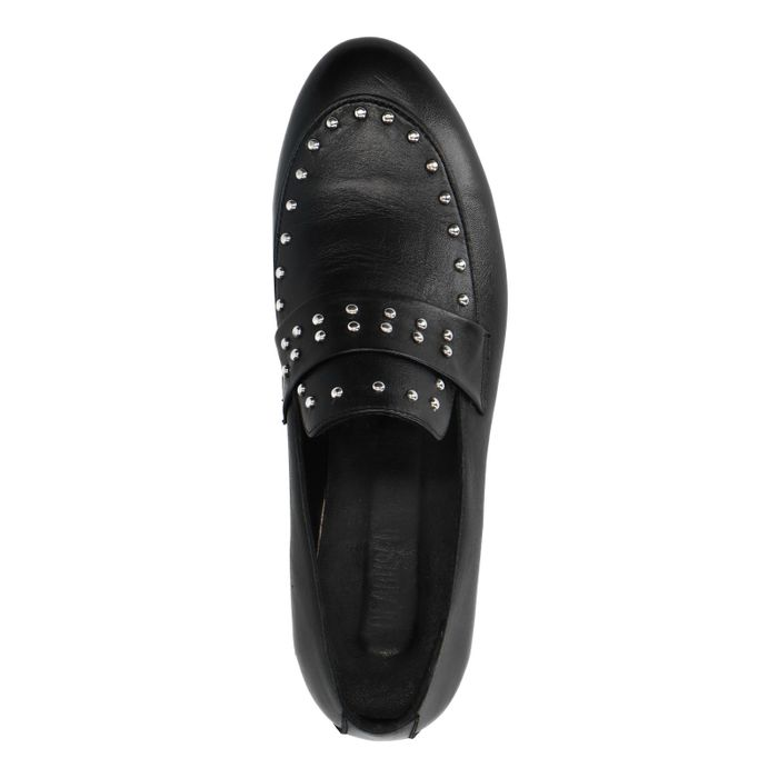 Schwarze Leder-Loafer mit Nieten
