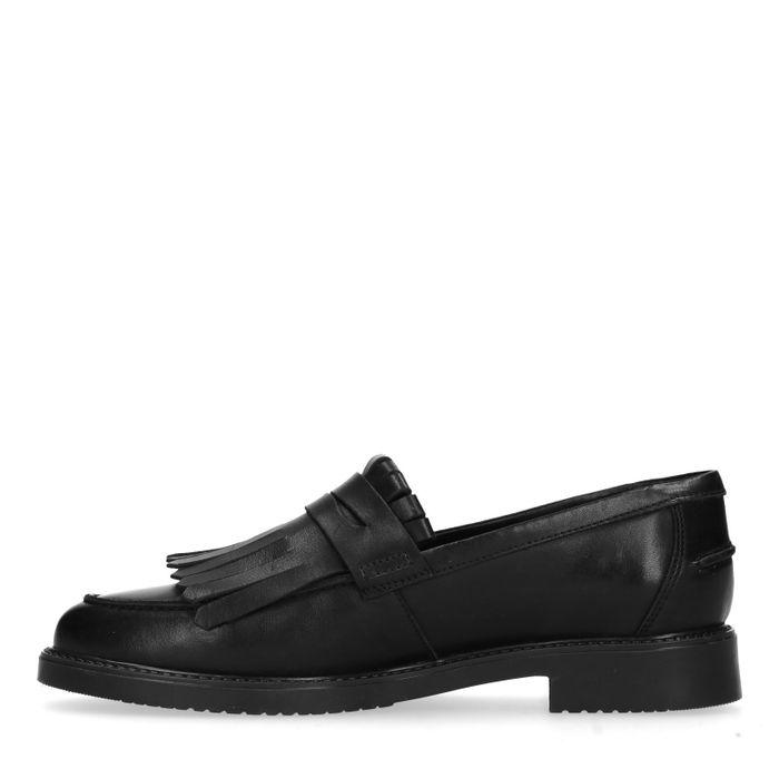 Schwarze Loafer mit Fransen