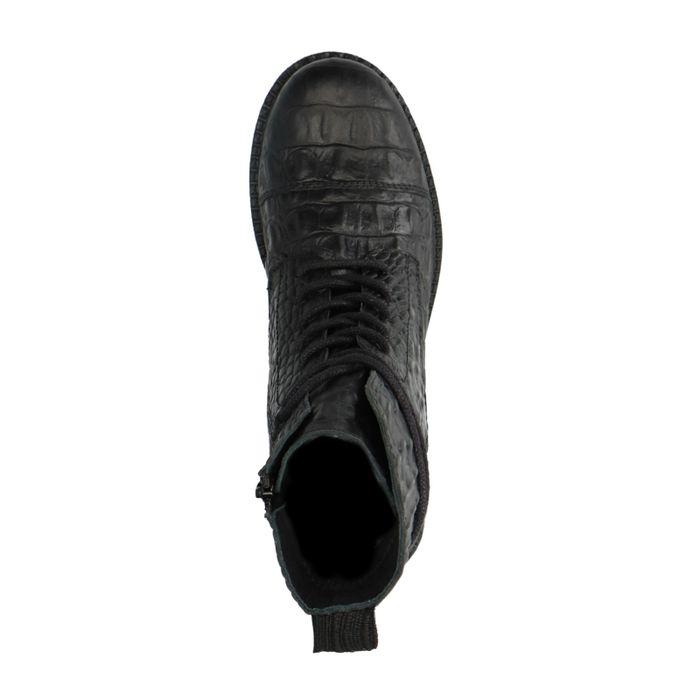 Schwarze Stiefeletten mit Krokomuster