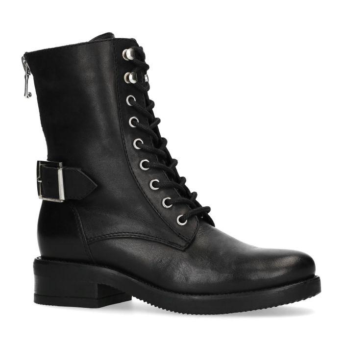Schwarze Schnürstiefeletten mit Schnalle