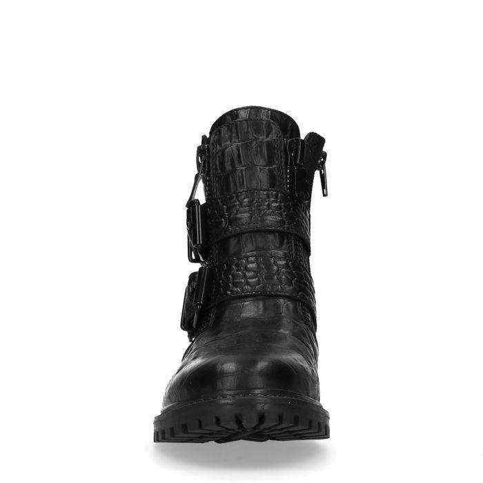 Schwarze Stiefeletten mit Schnalle und Krokomuster