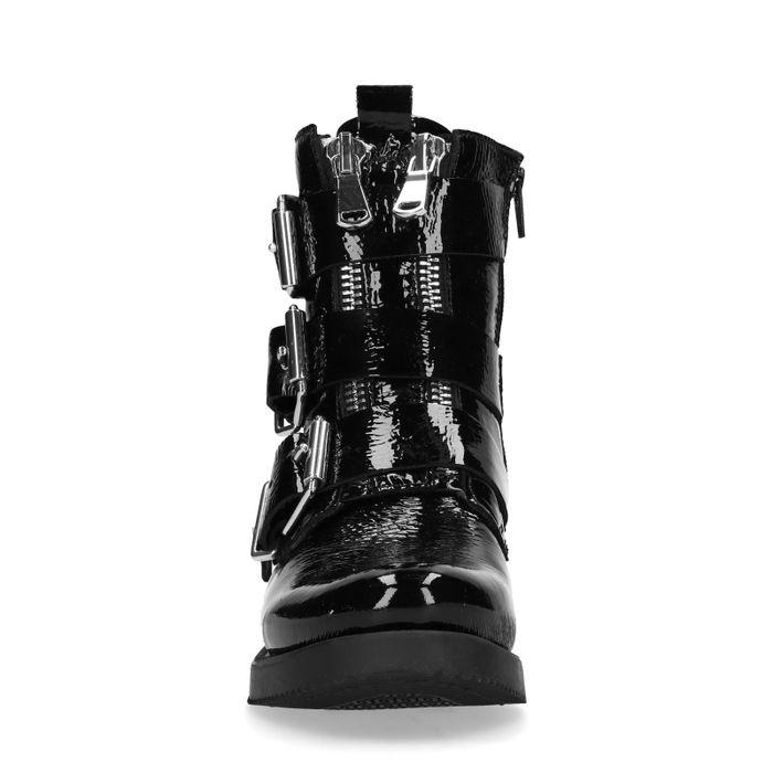 Schwarze Lack-Schnürstiefeletten mit Krokomuster