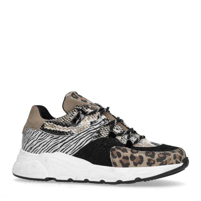 Schwarze Dad-Sneaker mit Animalprint