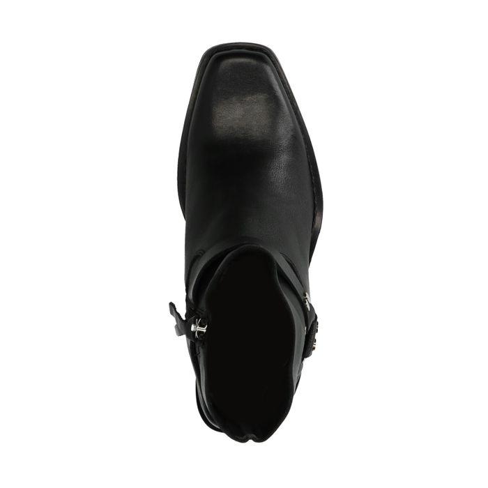 Schwarze Stiefeletten mit Schnalle