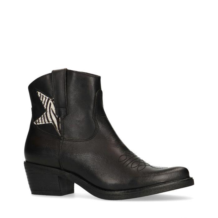 Cowboy-Stiefeletten mit Zebraprint-Stern