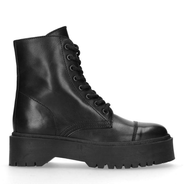 Schwarze Leder-Schnürstiefeletten mit Plateausohle