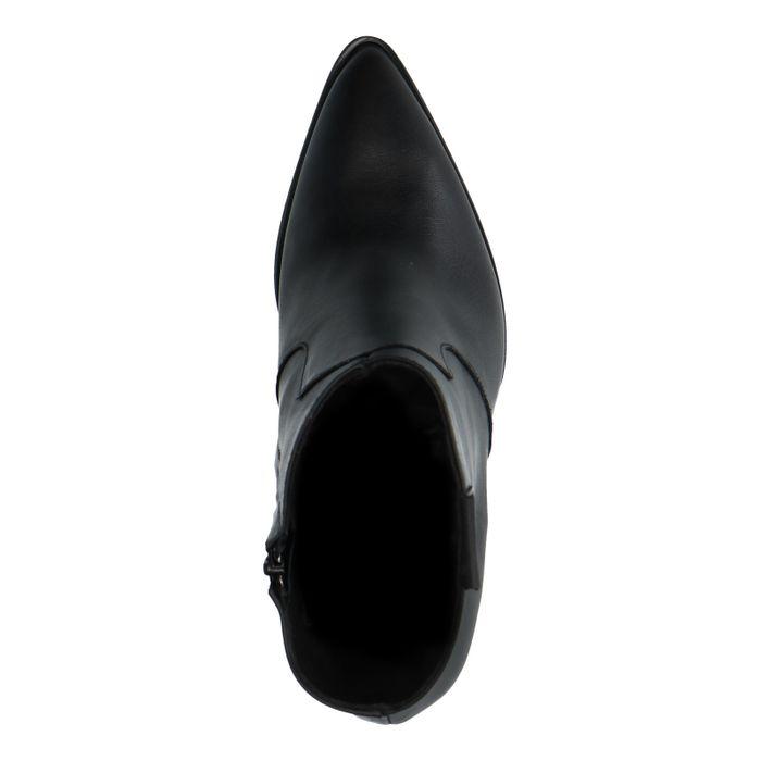 Schwarze Leder-Stiefeletten mit Pfennigabsatz