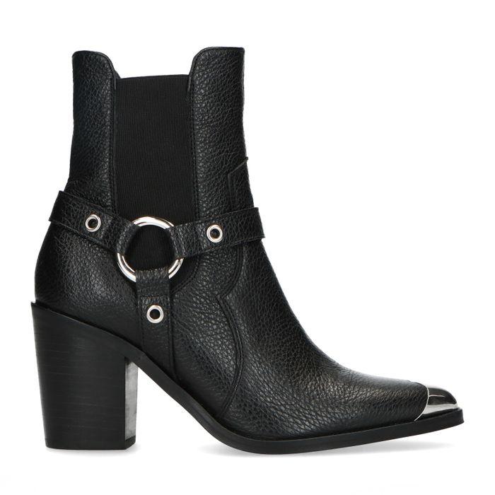 Schwarze Chelsea Boots mit Absatz