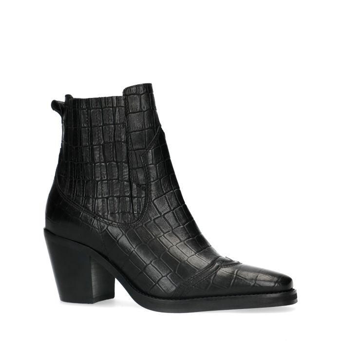 Schwarze Chelsea Boots mit Schlangenmuster