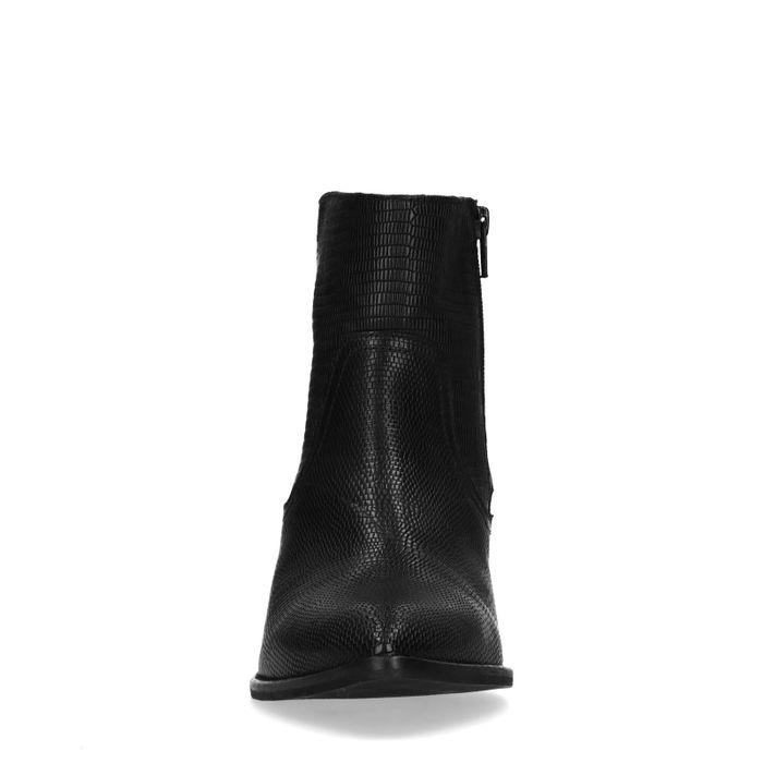 Schwarze Leder-Stiefeletten mit Absatz